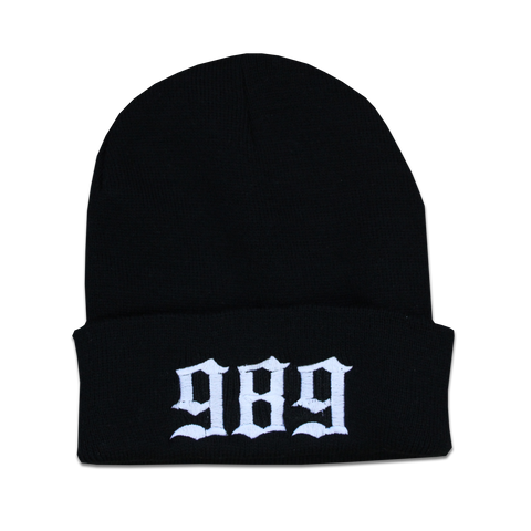 989 EMBROIDERED BEANIE - BLACK