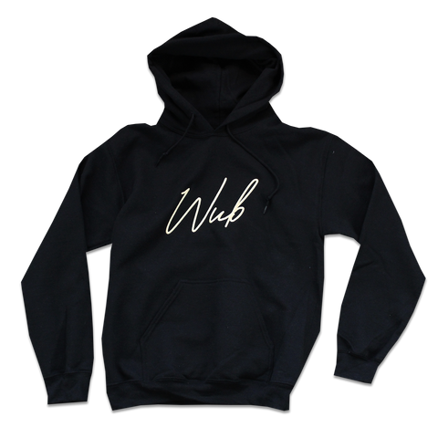 SCRIPT HOODIE EMBROIDERED - BLACK