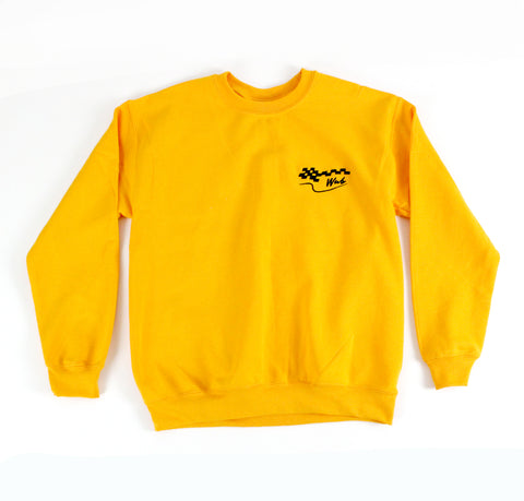 CHECKERED FLAG CREWNECK - GOLDEN YELLOW
