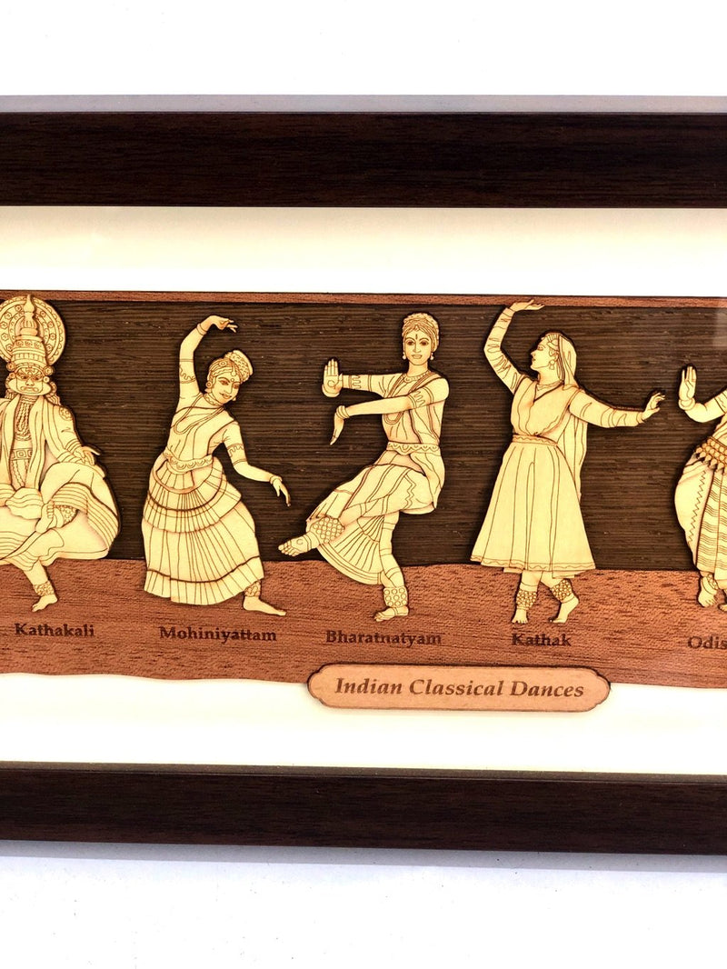 Indian Classical Dance Forms Wooden Crafted Frame Indian Art Tamrapatra