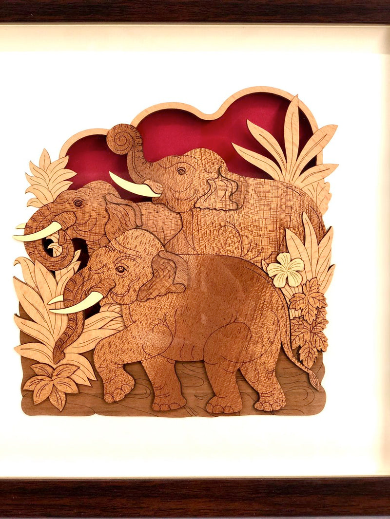 Unique Creation Of 3 Elephant On Wood Unusual Expertise Tamrapatra