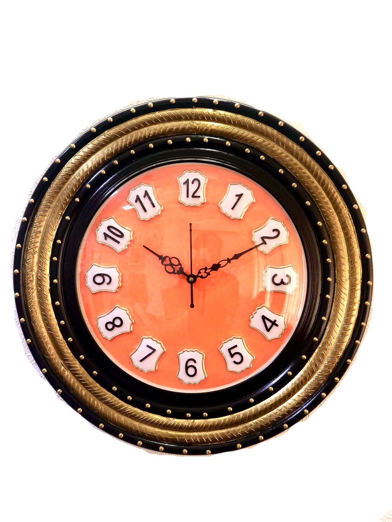 Antique Clock With Wooden Finish & Brass Emboss Craft Tamrapatra - Tanariri Hastakala