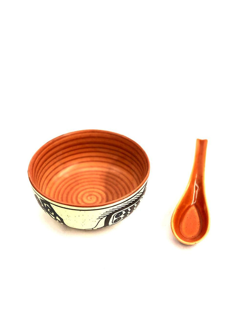 Designer Soup Bowl With Spoon Made Of Ceramic Dinning Utility Tamrapatra