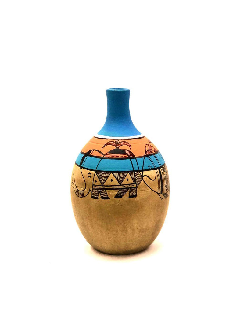 Clay Pots With Madhubani HandPainting Beige Home Decor Tamrapatra