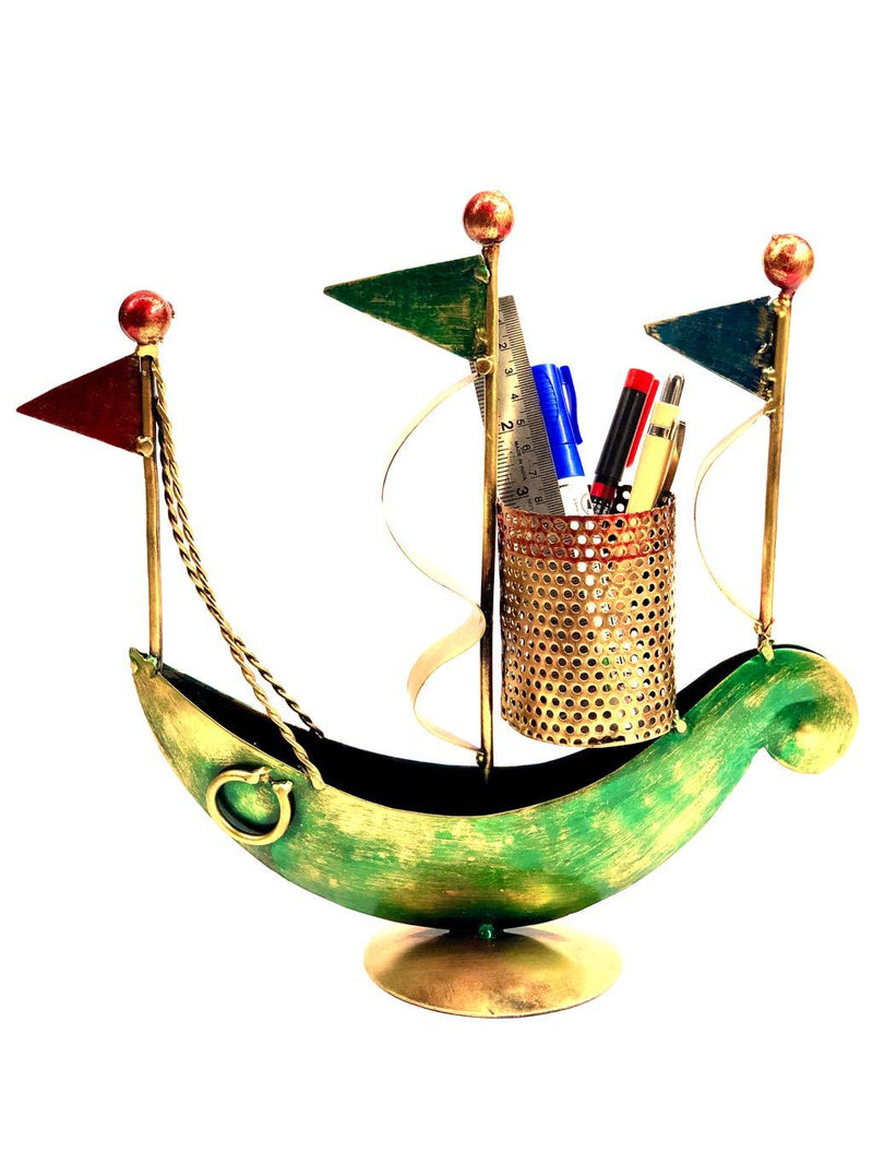 Innovative Boat Metal Pen Stand Multi Purpose Holder Creation Tamrapatra