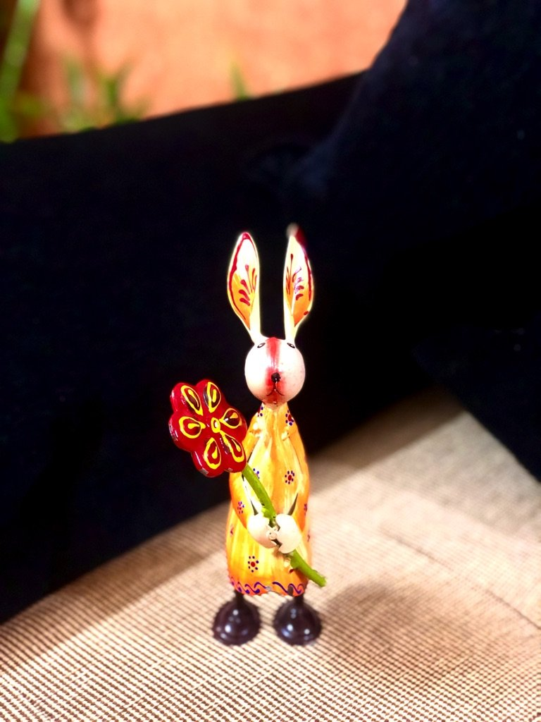 Cute Bunny Playing With Objects Metal Collection Tamrapatra - Tanariri Hastakala
