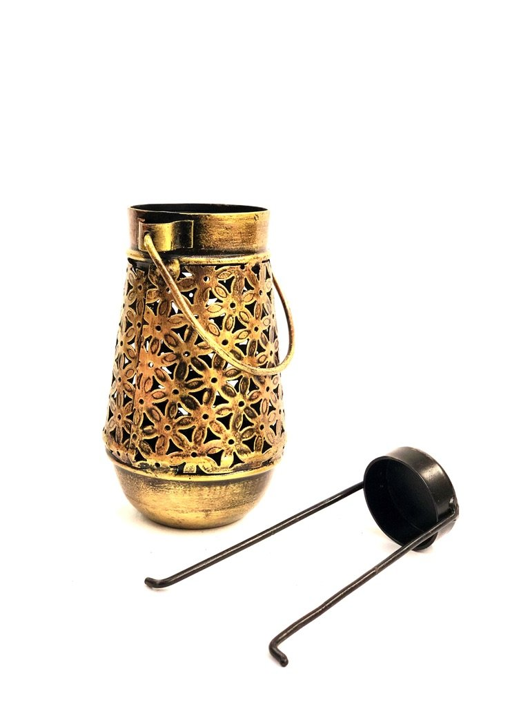 Bottle Style Candle Holder With Handle Carving Tea Light Tamrapatra