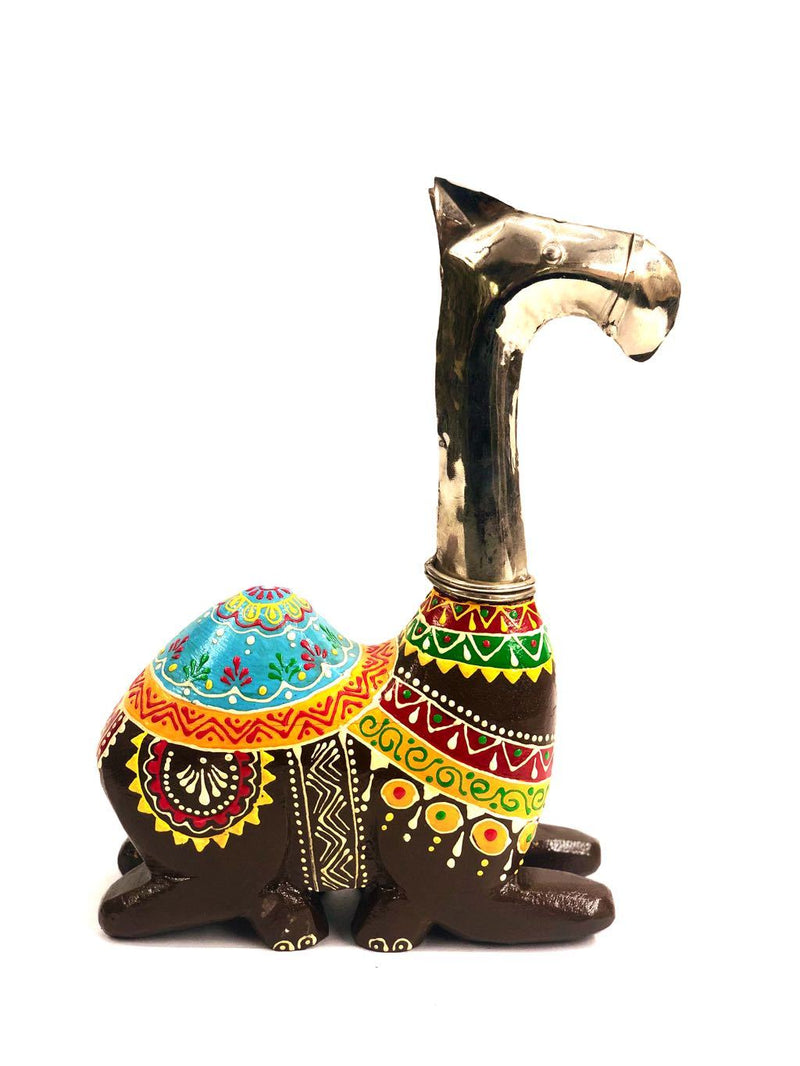 Camel Made With Premium Wood Combined With Iron Hammered Tamrapatra - Tanariri Hastakala