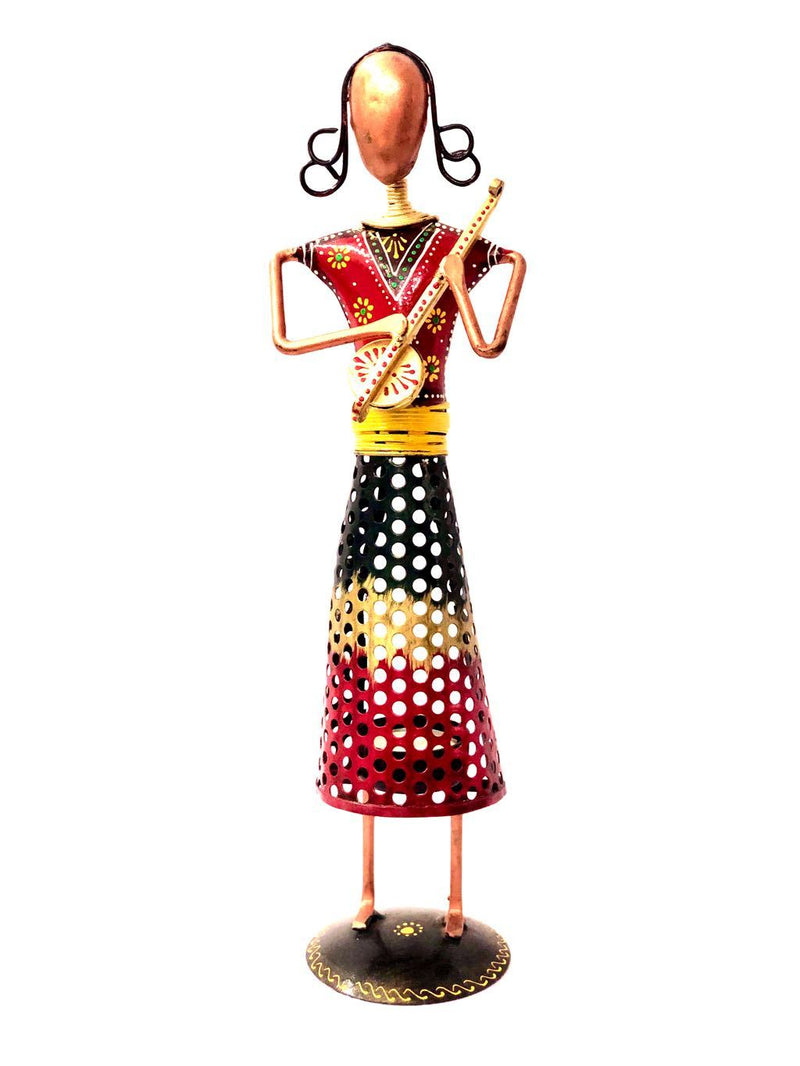 Metal Musical Woman Playing Musical Instruments Colorful Tamrapatra - Tanariri Hastakala