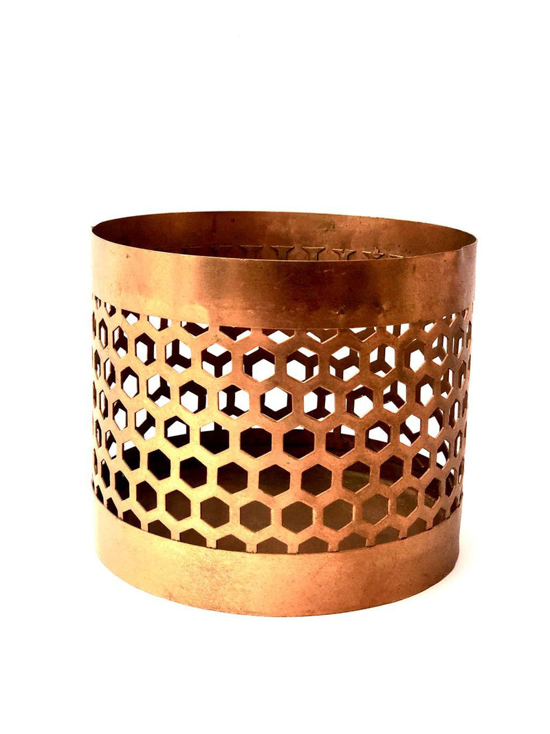 Wide Cylinder Shadow Candle Holder Honeycomb Style Tamrapatra - Tamrapatra