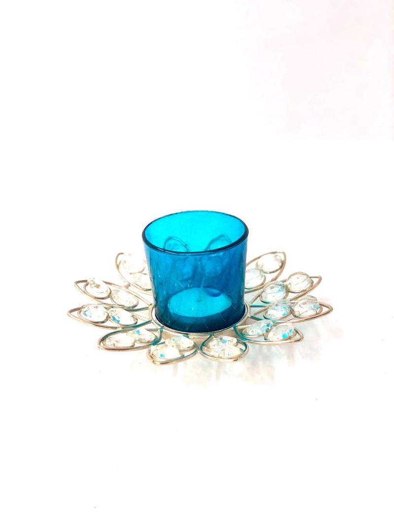 Glass With Crystal Lotus Tea Light Holder Festival Decor By Tamrapatra