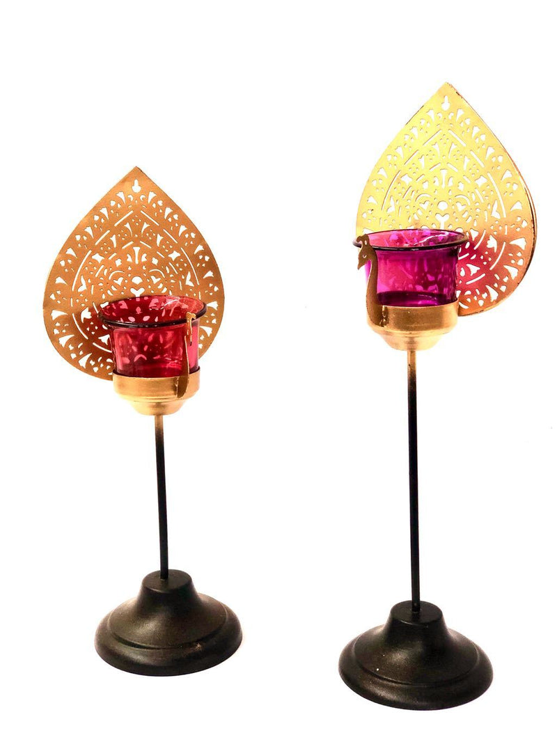 Peacock Designer Tea Light Holder Exclusive Collection Tamrapatra - Tanariri Hastakala