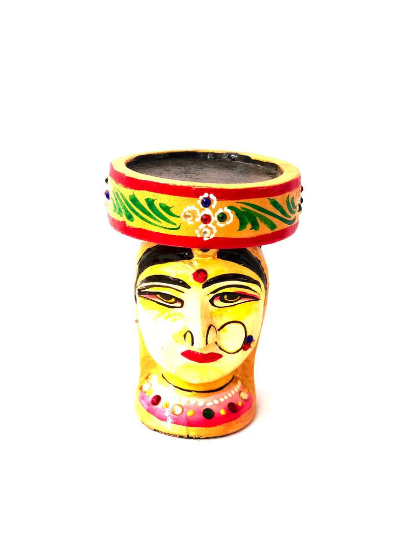 Royal Figure Wooden Hand Painted Tea Light Holder Craft Tamrapatra - Tamrapatra