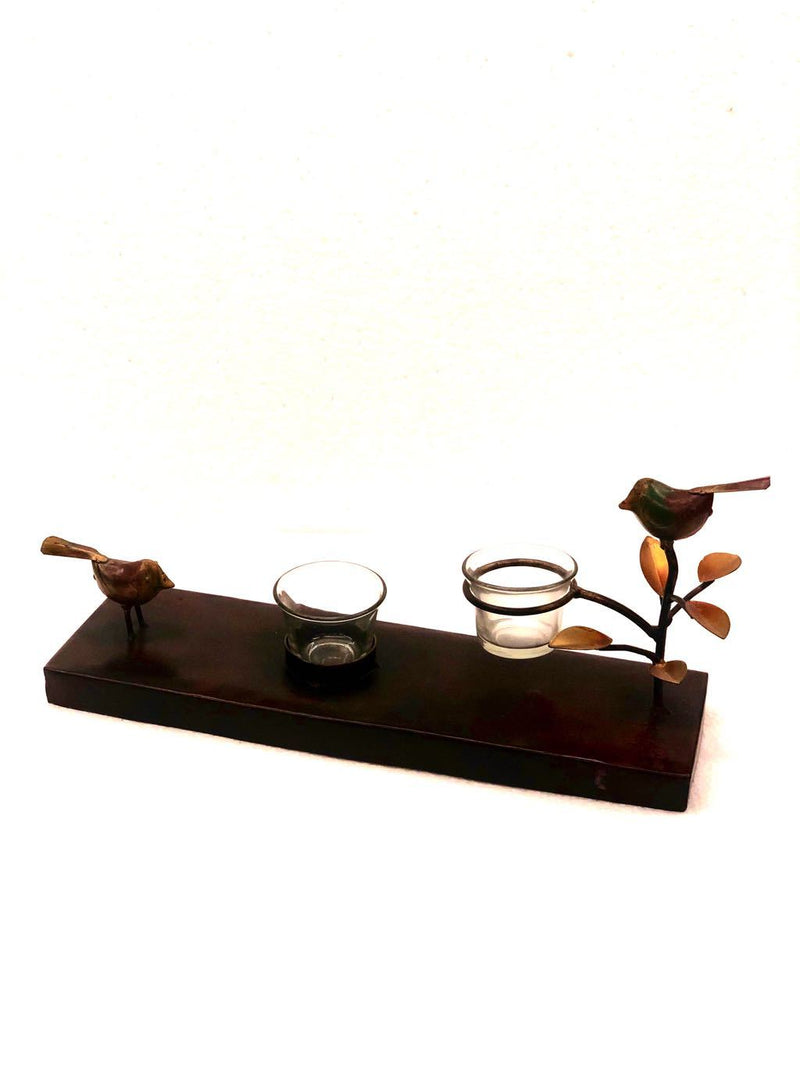 Sitting Sparrow On Leaf Branch Metal Tea Light Holder Lamp Tamrapatra