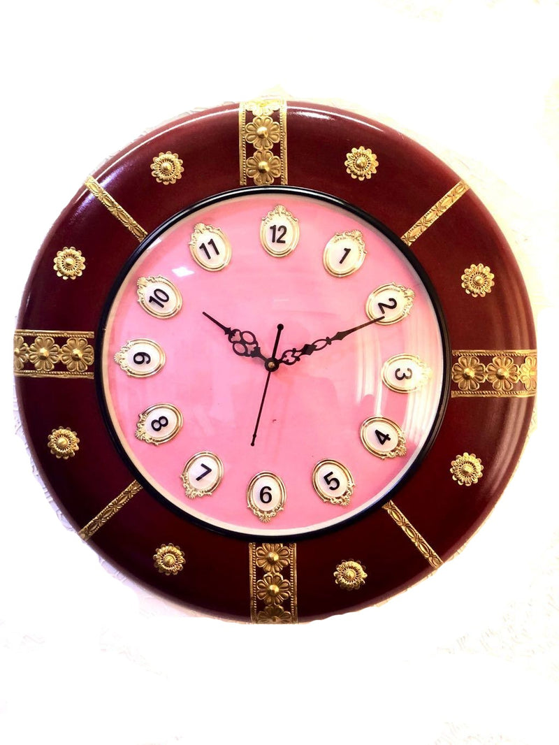Wall Clock Wooden Finish With Brass Emboss Handcrafted Tamrapatra - Tanariri Hastakala