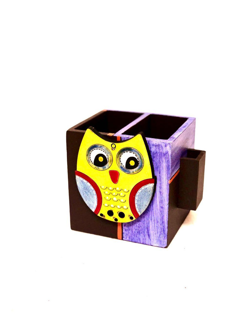 Wooden Cutlery & Toothpick Holder Owl Collection Hand Painted Tamrapatra