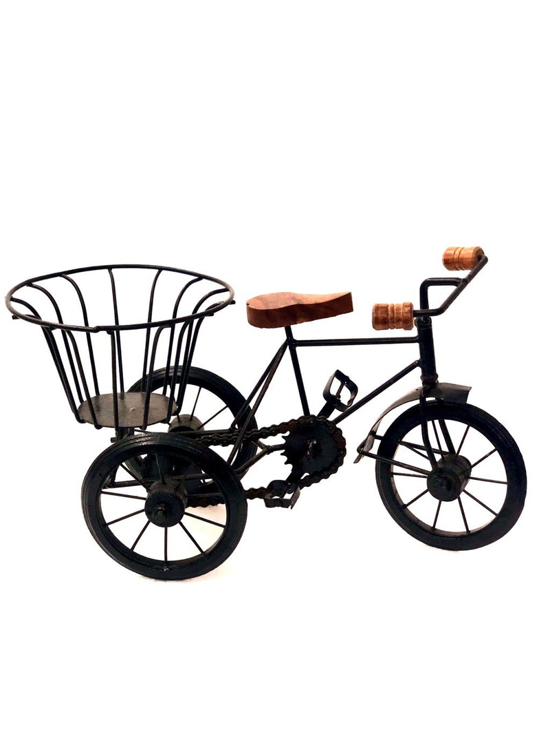 Cycle With Basket For Decoration Best Metal Vintage Art By Tamrapatra