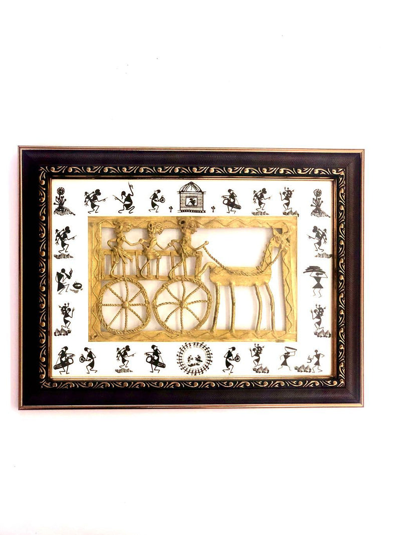 Villagers Riding On Horse Cart Rural Lost Wax Dhokra Art Tamrapatra
