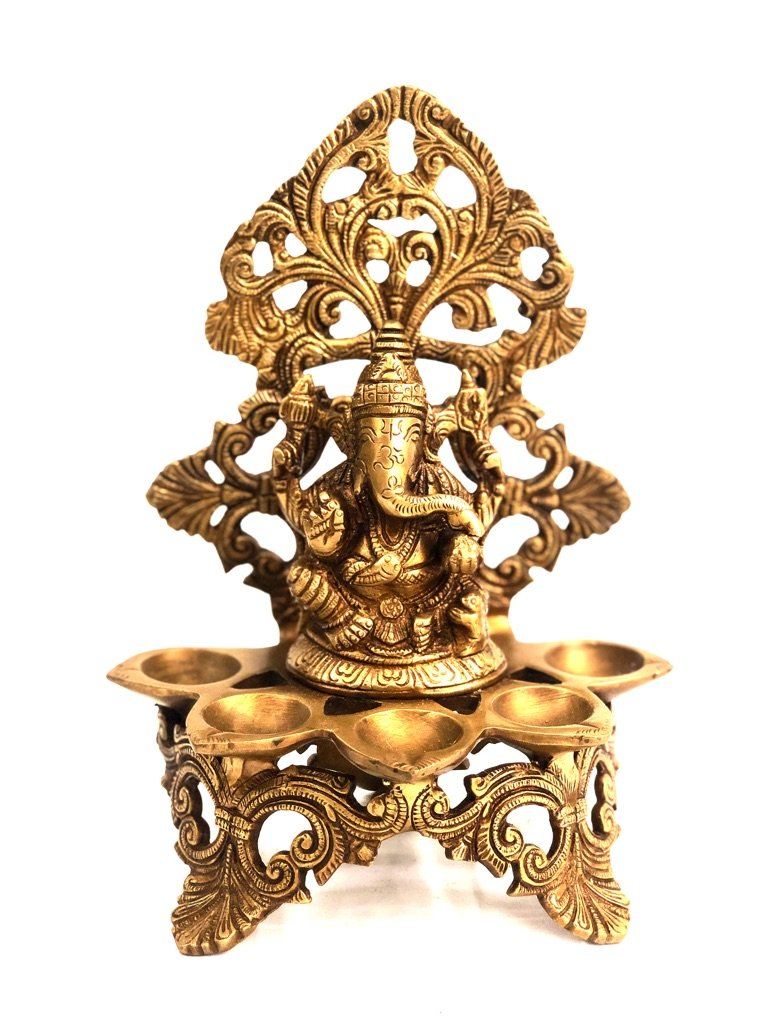 Divine Lord Ganesha Idol With 5 Diyas In Brass Best Quality Tamrapatra