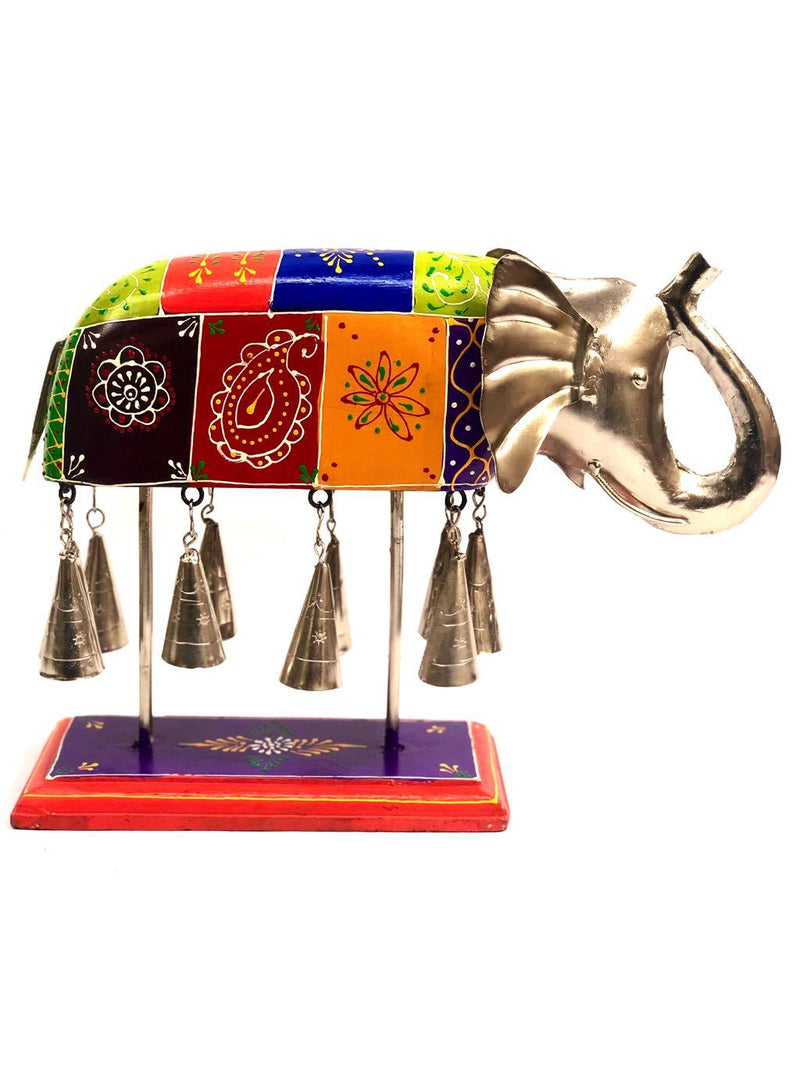 Exclusive Showpiece Wooden Painted Elephant & Ringing Bells Tamrapatra - Tanariri Hastakala