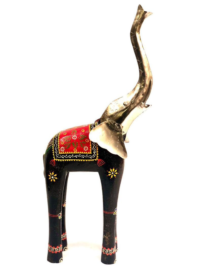 Long Standing Wooden Elephant With Metal Trunk Make In India Tamrapatra - Tanariri Hastakala