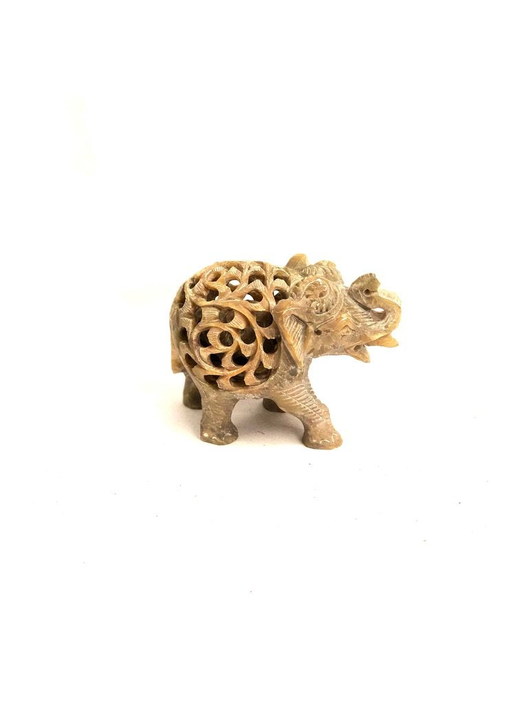 Stone Elephant Fine Carving Best Indian Arts Souvenir By Tamrapatra