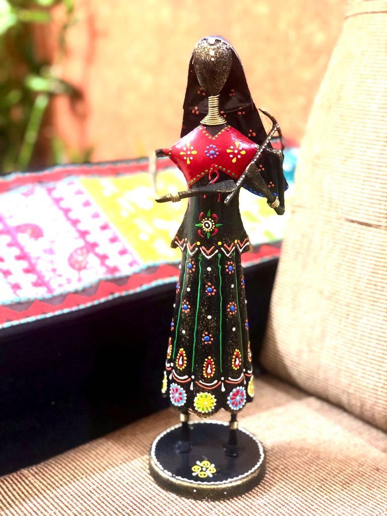 Lady Farmer With Agricultural Tools Metal Showpiece Decor Tamrapatra - Tamrapatra