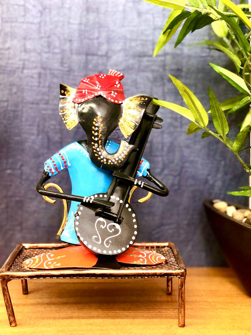 Lord Ganesha On Charpoy Playing Musical Instruments Tamrapatra - Tamrapatra