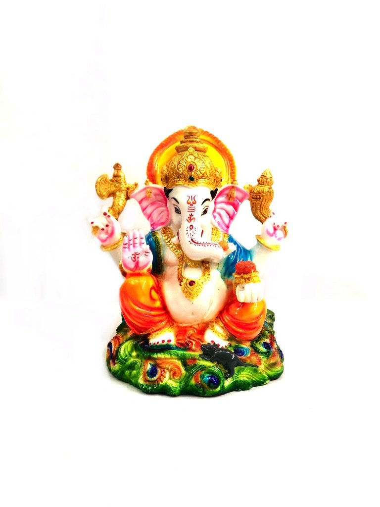 God Ganesha Religious Sculptures Peacock Theme Resin Tamrapatra