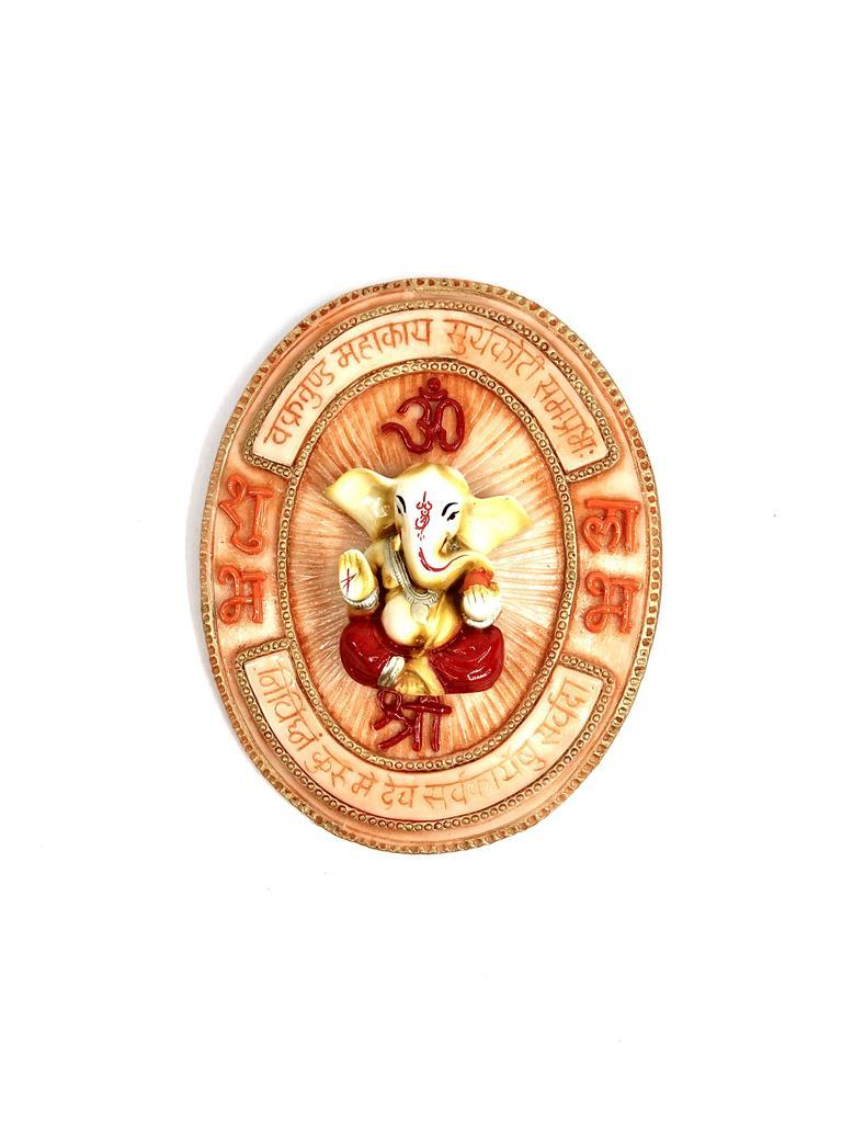 Ganesh Mantra With Idol Wall Hanging Resin Shubh Labh Om Tamrapatra