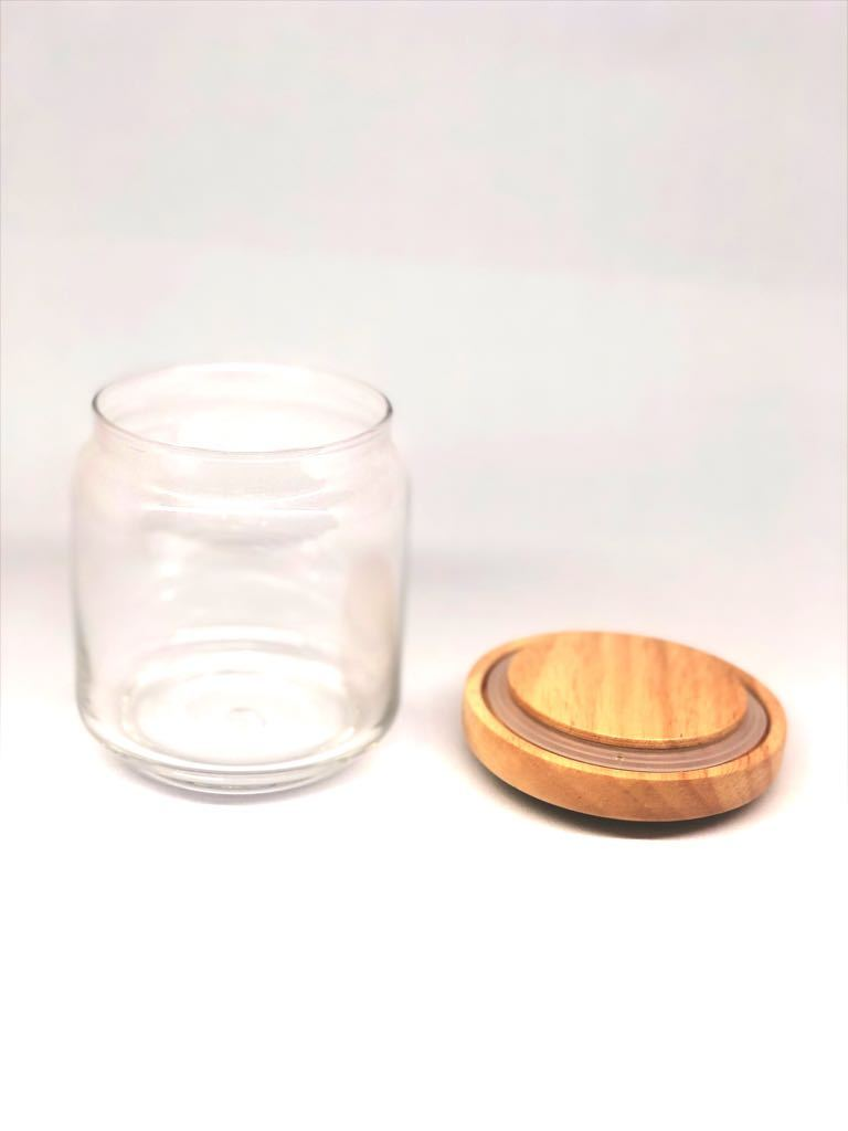 Storage Glass Jars With Wooden Airtight Lids Dhokra Handcrafted Tamrapatra