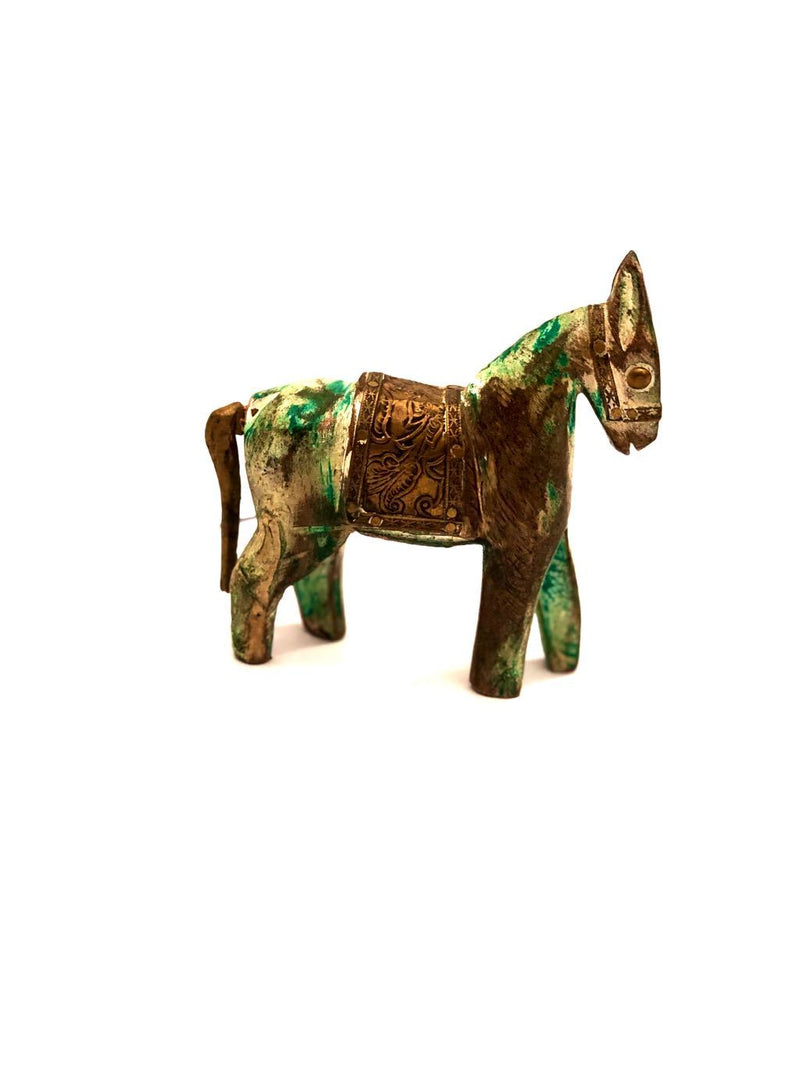 Artistic Wooden Horse Painted Rustic Style Best Handicrafts By Tamrapatra - Tanariri Hastakala