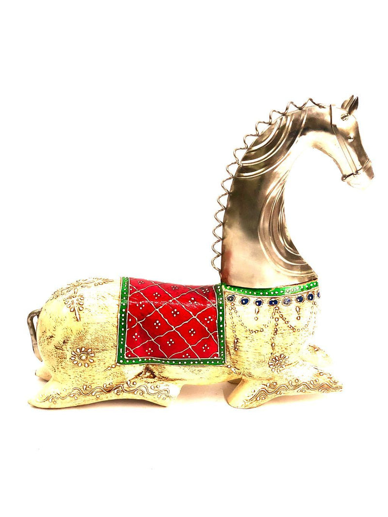 Wonderfully Lean Horse Made From Wood Combined With Metal Tamrapatra - Tanariri Hastakala