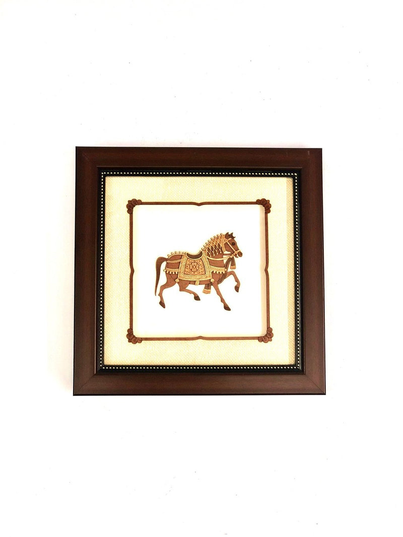 3D Wooden Carving Horse With Classic Brown Frame & Glass Tamrapatra
