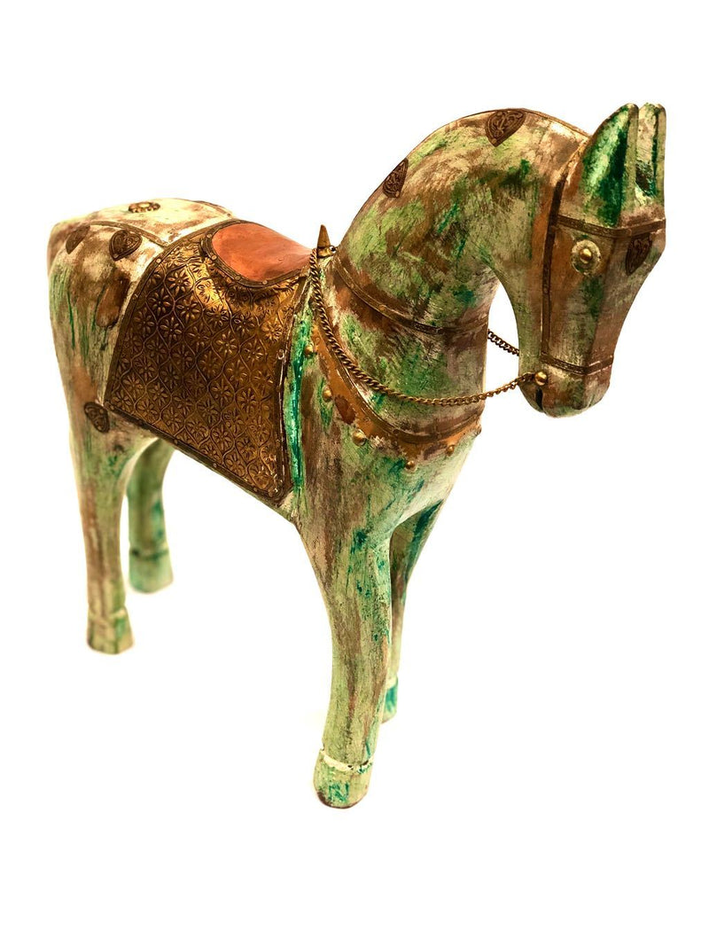 Lifelike Wooden Animal Horse With Brass Foil Fittings Craft By Tamrapatra - Tanariri Hastakala