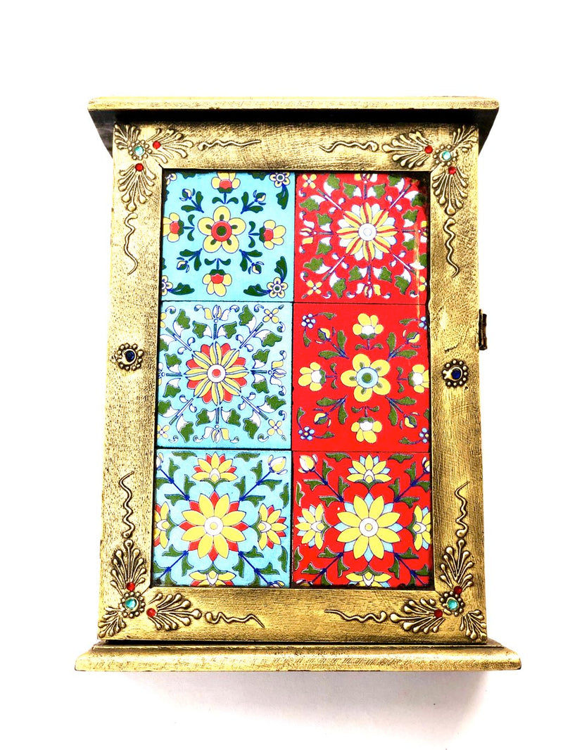 Blue Pottery Tiles Fitted On Wooden Box Door Style Key Hanger Tamrapatra