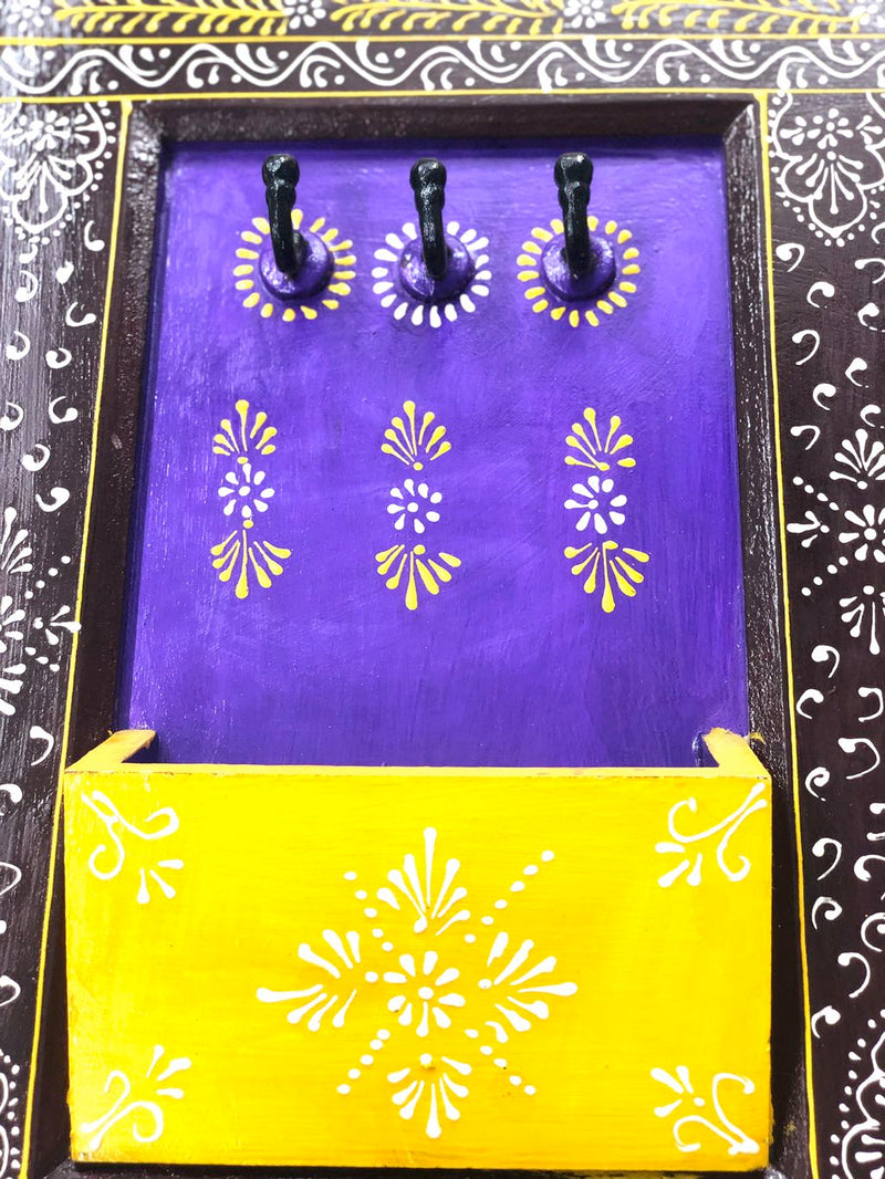 Traditional Painted Wooden Key Letters & Mobile Holder By Tamrapatra