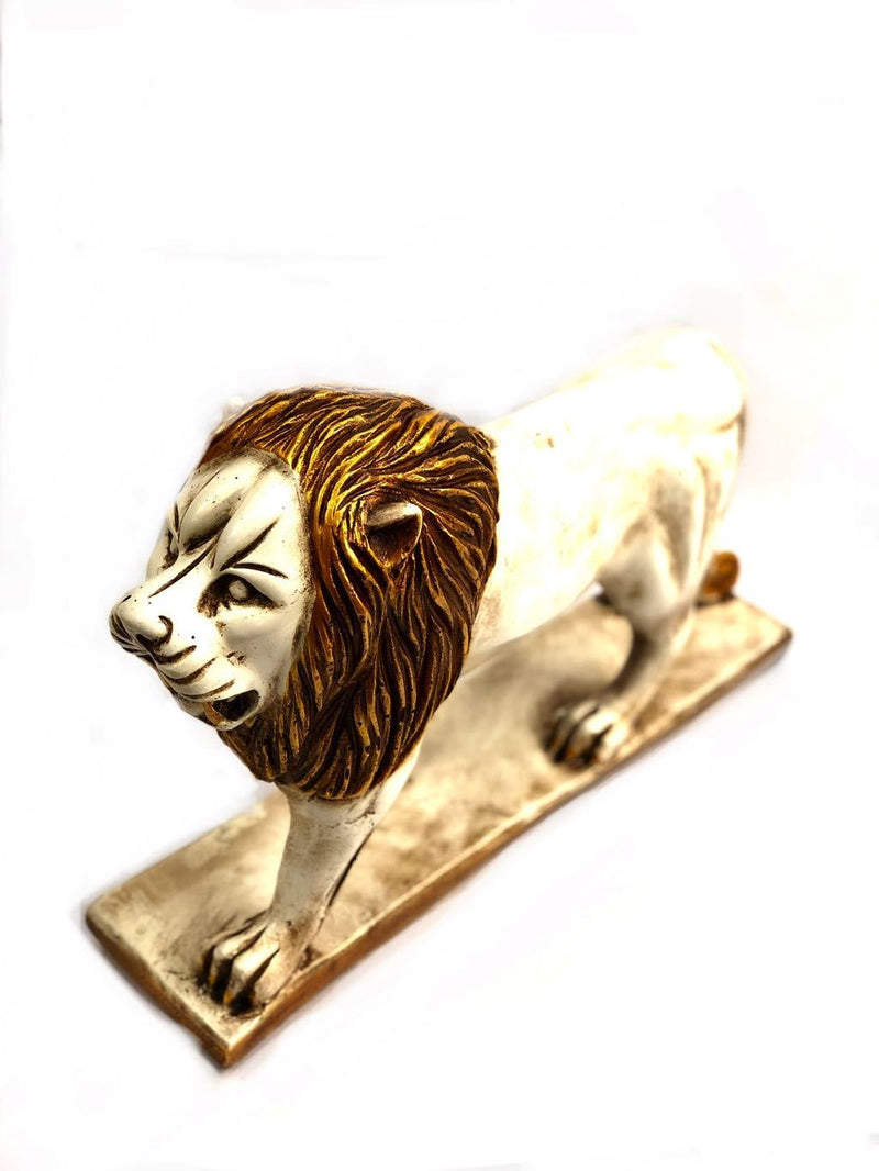 Lifelike Lion Sculpture On Stand Resin Collection Exporter Tamrapatra