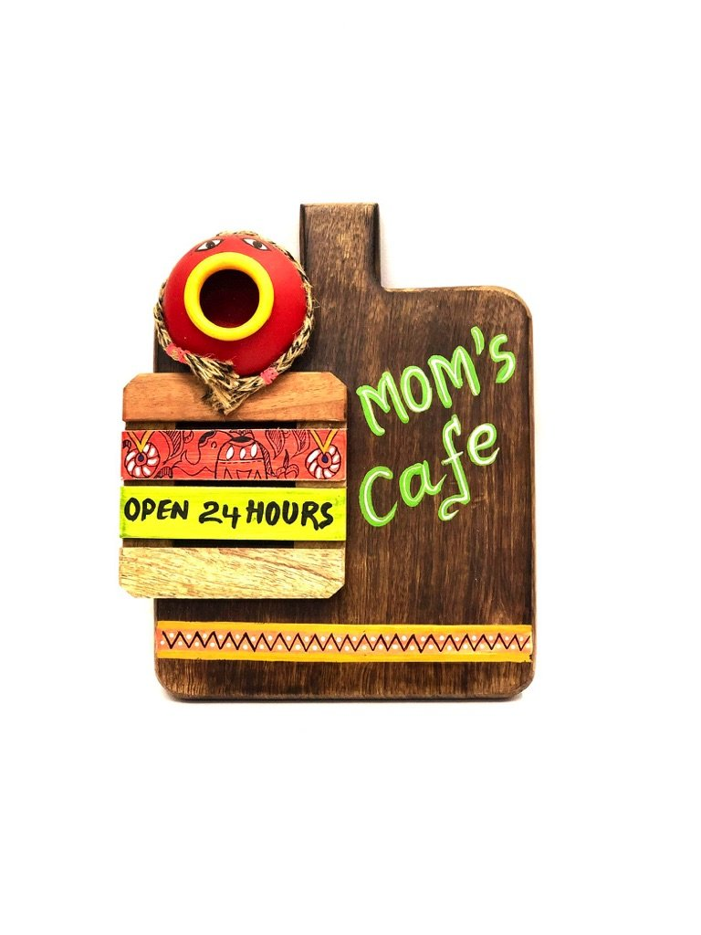 Mom's Cafe Kitchen Wall Decor 24 Hours Open Hand Painted Tamrapatra