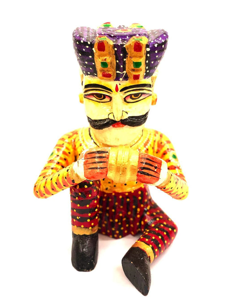 HandPainted Wooden Musical Man With Indian Attire Decor By Tamrapatra - Tanariri Hastakala
