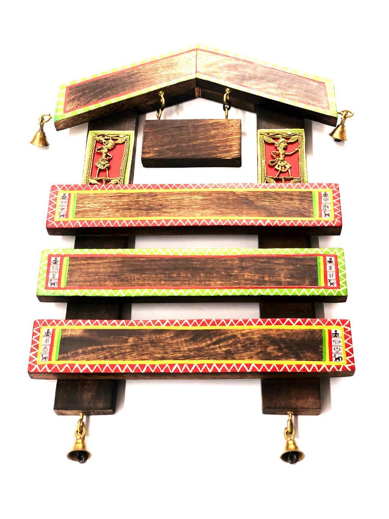 Unique Hut Shaped Wooden Name Plate With Bells HandPainted Tamrapatra - Tanariri Hastakala
