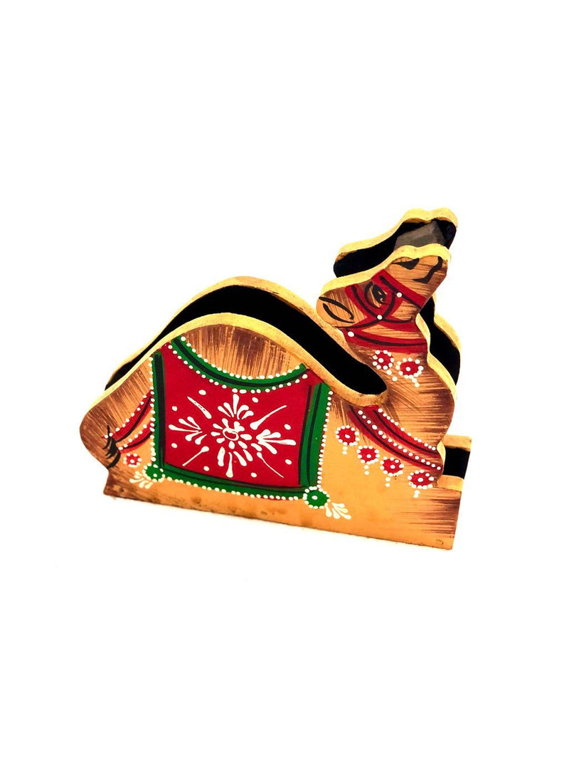 Traditional Style Hand Painted Camel Wooden Napkin Holder By Tamrapatra