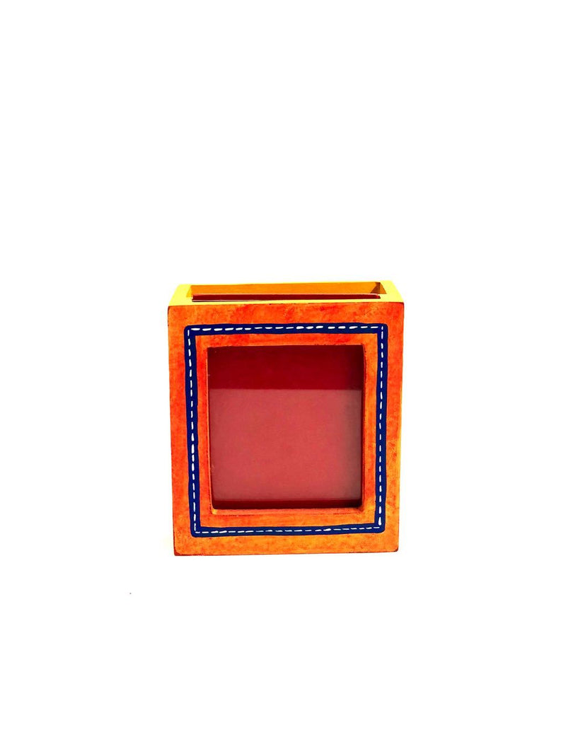 Multicolor PhotoFrame Pen Stand Hand Painted Wooden Utility Tamrapatra