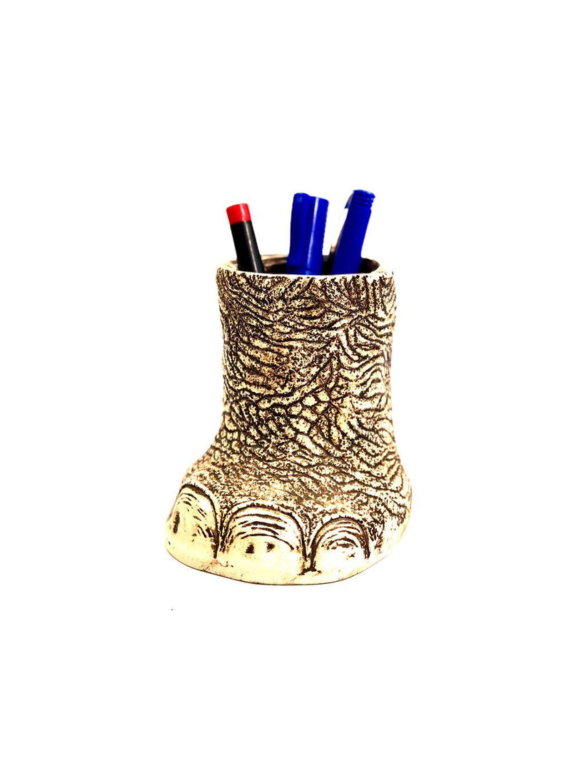 Elephant Foot Resin Pen Stand Multi Purpose Stand Home Utility Tamrapatra