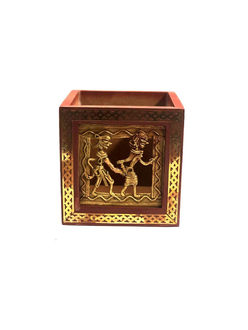 Wooden Square Pen Stand With Dhokra Figures Traditional Art Tamrapatra