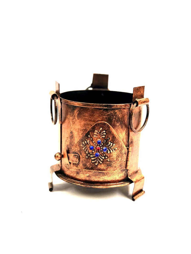 Pen Holder In Metal Indian Sigdi Style Hand Painted Traditional Tamrapatra
