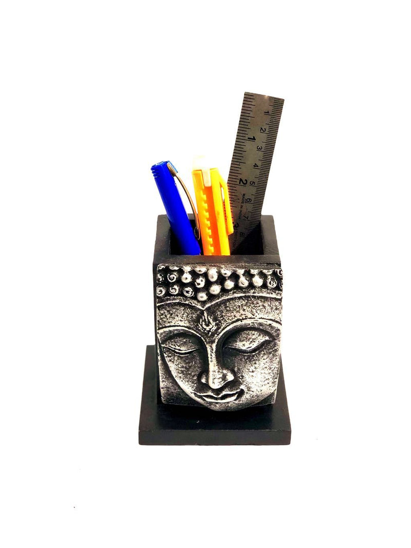 Buddha Sculpture Face On Wooden Pen Stand Modern New By Tamrapatra