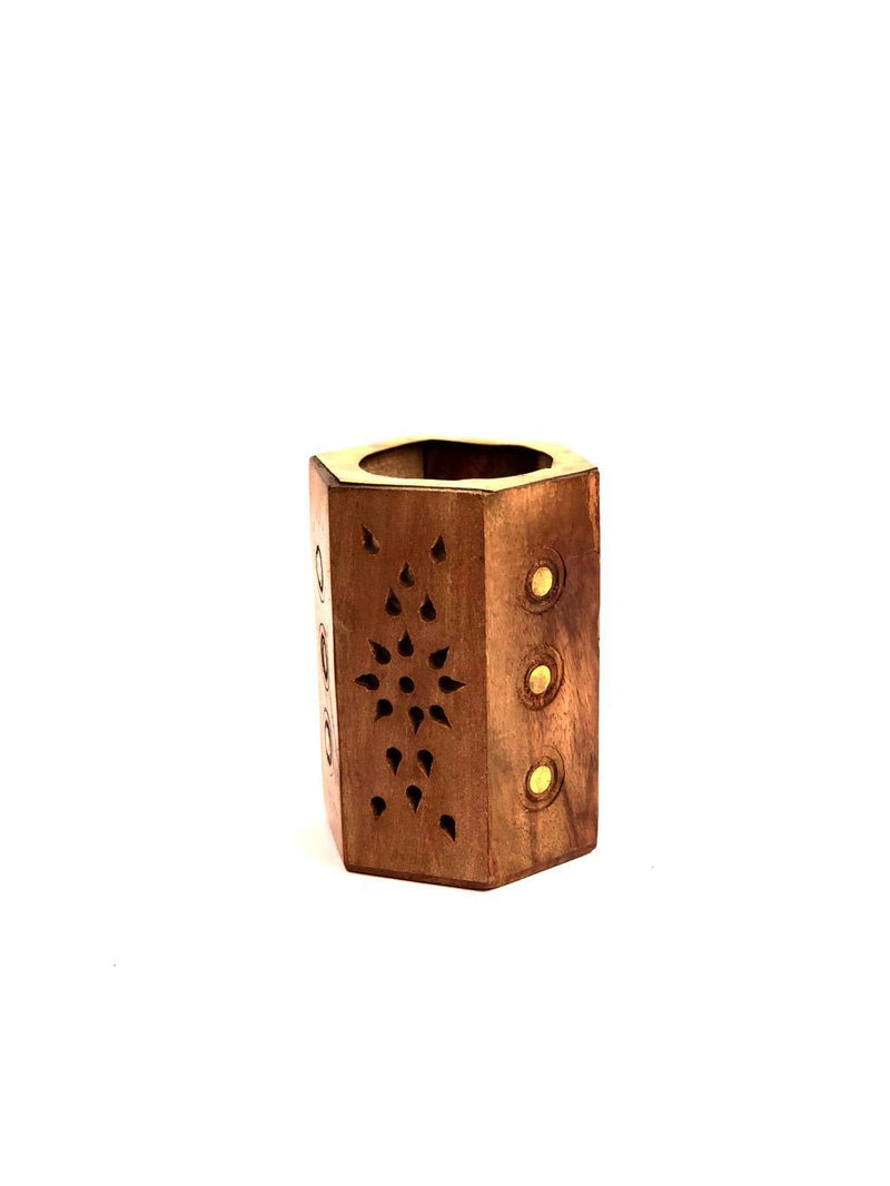 Wooden Carving Pen Stand With Combination Of Brass Strips Tamrapatra