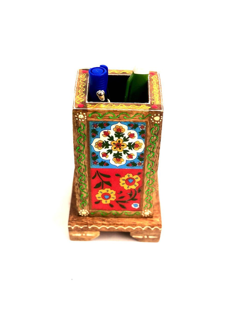 Wooden Pen Stand Utility With Attached Blue Pottery Tiles By Tamrapatra