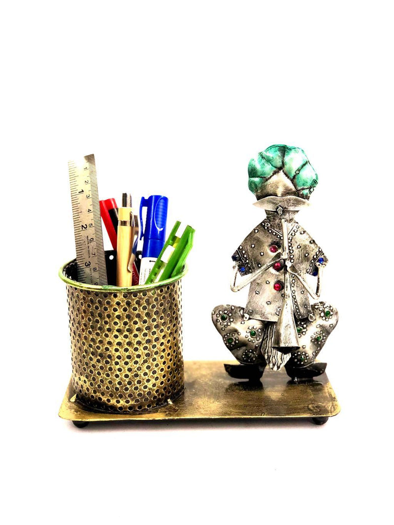 Metallic Musical Theme Metal Pen Stand Multipurpose Holders Tamrapatra